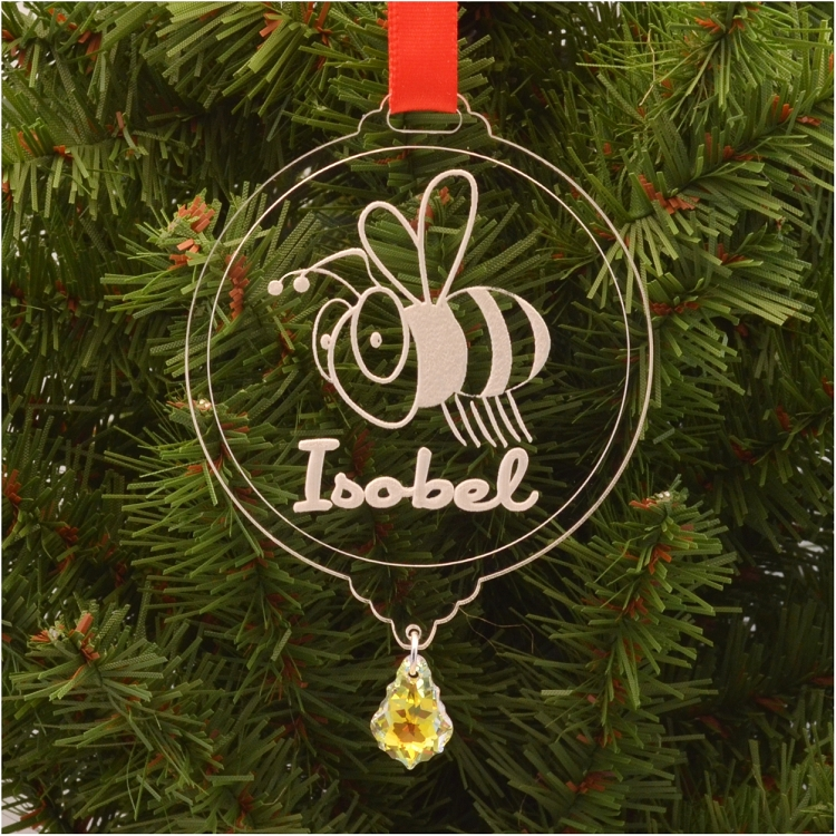 personalized bumble bee christmas ornament with swarovski crystal