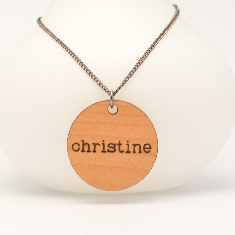 personalized engraved typewriter name necklace solid