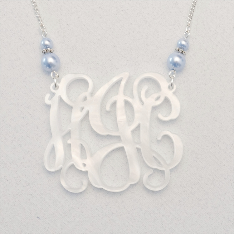 custom double pearl vine monogram necklace