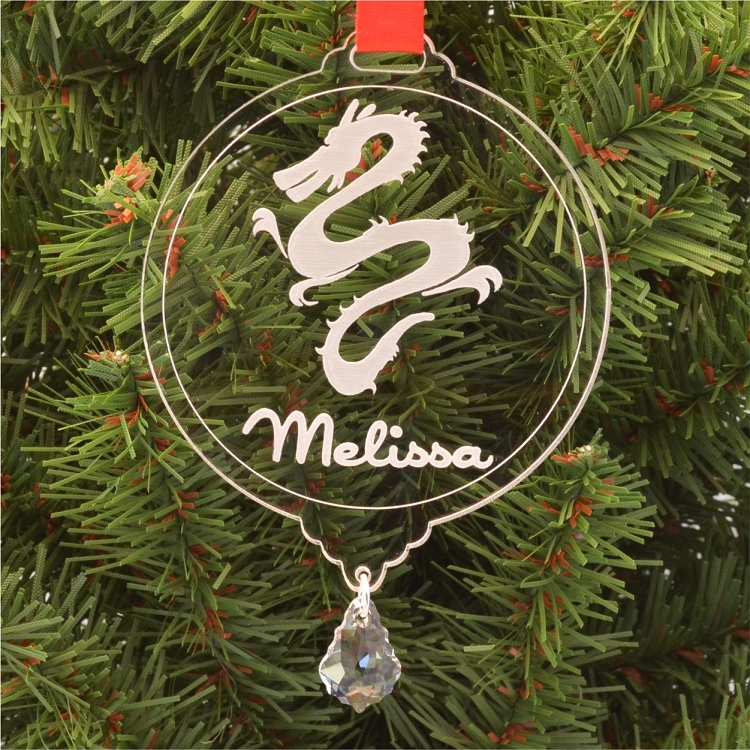 Personalized Dragon Christmas Ornament With Swarovski