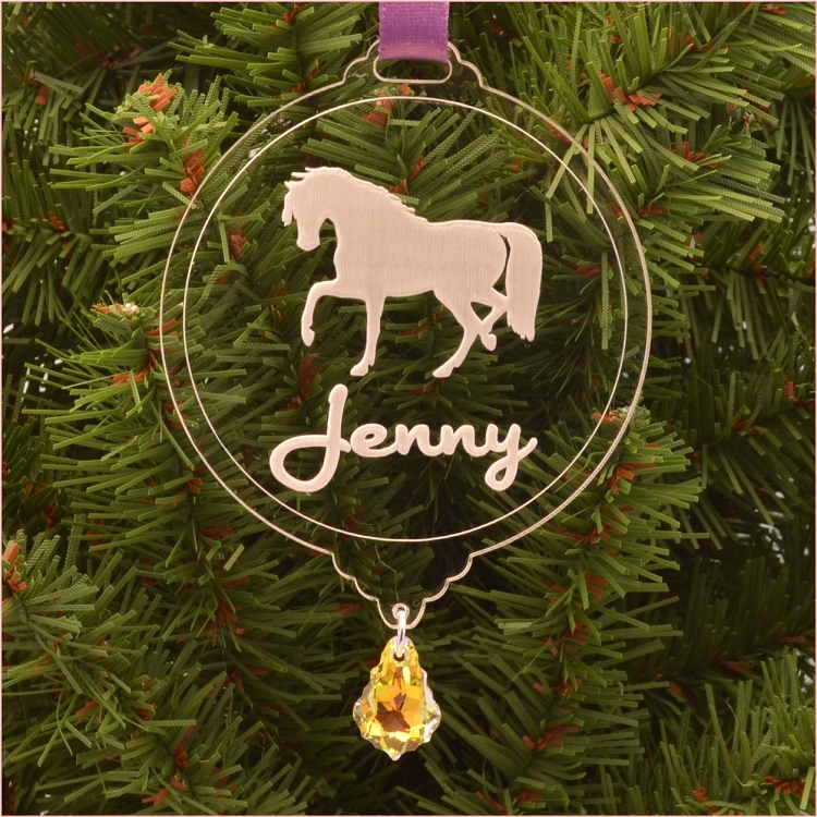 Personalized Horse Christmas Ornament with Swarovski Crystal