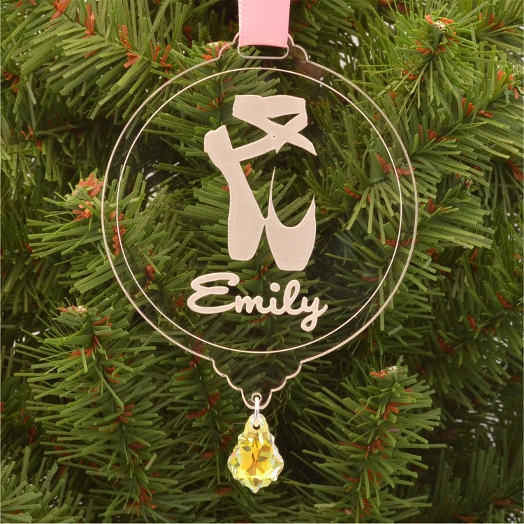 Personalized Pointe Shoes Christmas Ornament with Swarovski ...