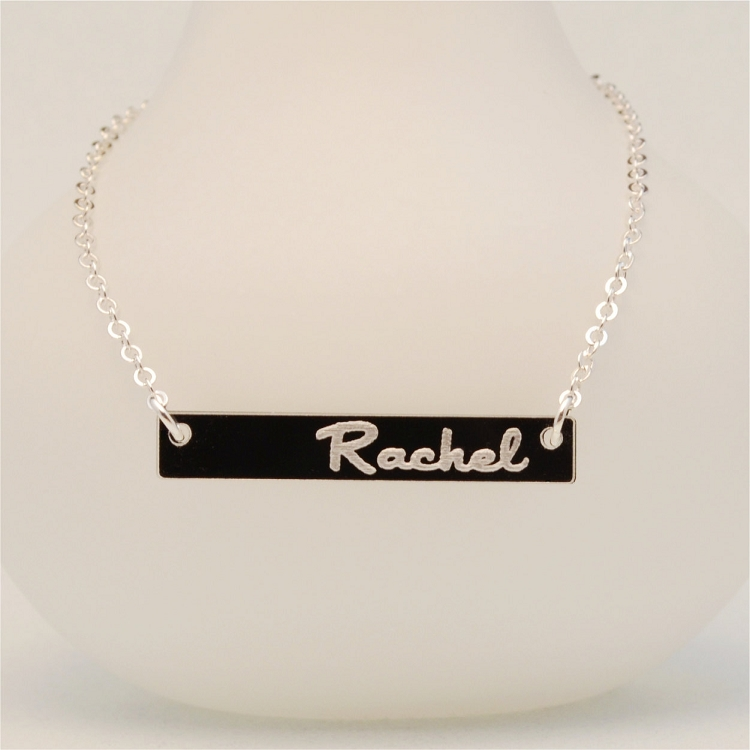 Personalized two layer acrylic name necklace ottava designs custom laser cutting and engraving aloadofball Image collections