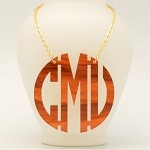Tortoise Shell Geometric Monogram Necklace