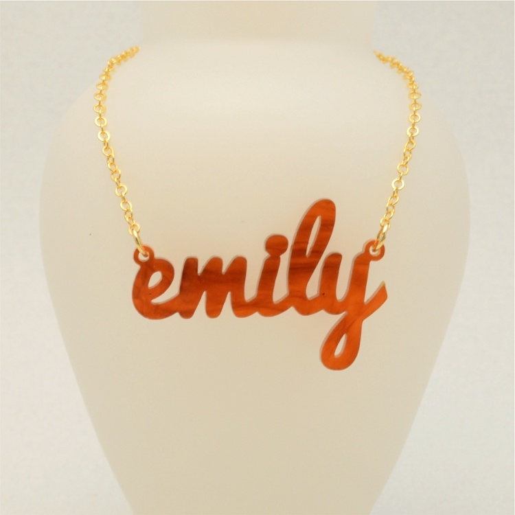 custom laser cut acrylic name necklace