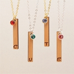 Initial Birthstone Bar Necklace