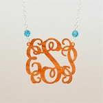Birthstone Vine Monogram Necklace