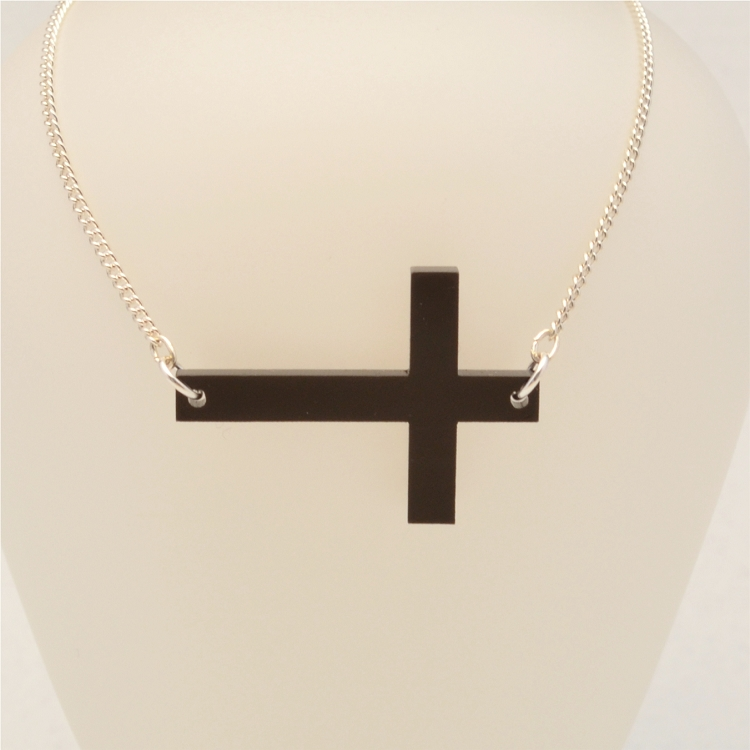 Sideways Cross Acrylic Necklace Laser Cut Ottava Designs