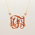 Curved Pearl Vine Monogram Necklace