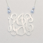 Double Pearl Vine Monogram Necklace