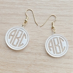 Engraved Geometric Monogram Earrings