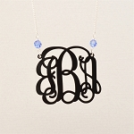 Large Birthstone Vine Monogram Necklace