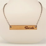 Bar Name Necklace in Solid Maple