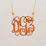 Small Birthstone Vine Monogram Necklace