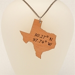 Customizable Wooden State Necklace with Location Coordinates