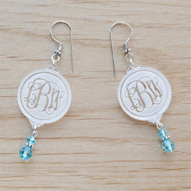 Birthstone Earrings Ideas: Engraved Vine Monogram Birthstone Dangle Earrings
