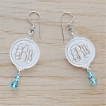 Engraved Vine Monogram Birthstone Dangle Earrings