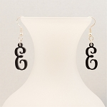 Vine Script Initial Earrings