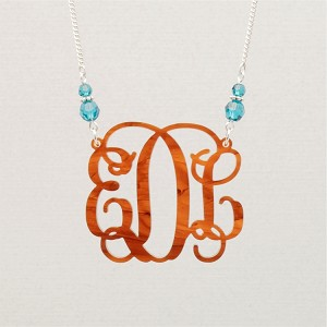 Double Birthstone Vine Monogram Necklace