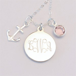 Small Engraved Charm Necklace with Anchor and Birthstone