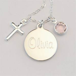 Small Engraved Charm Necklace with Cross and Birthstone