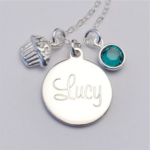 Small Engraved Charm Necklace with Cupcake and Birthstone